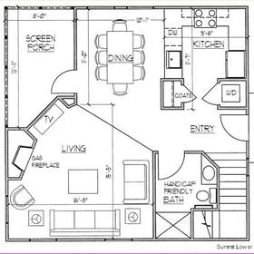 Ridge Top Village and Ridge Top Summit at Shawnee Resort — - Downstairs Floor Plan
