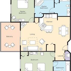 Wyndham Vacation Resorts at National Harbor — 2BR Deluxe Floor Plan