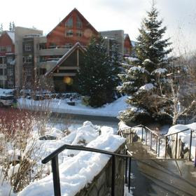 Whistler Vacation Club at Lake Placid Lodge — Stairway to Plaza and Gondola across from Lobby