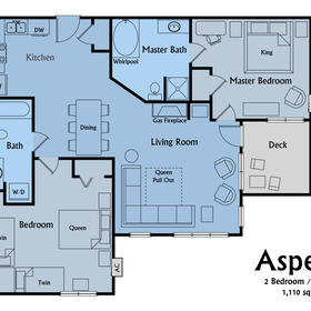 Sample floorplan of an Aspen Highlands 2-bedroom unit.