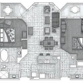 Two-bedroom unit floorplan - sample