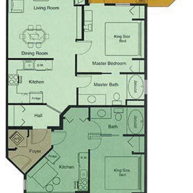 Sunchaser Villas at Fairmont - Riverside and Hillside — Fairmont Vacation Villas at Riverside and Hillside - Unit Floor Plan
