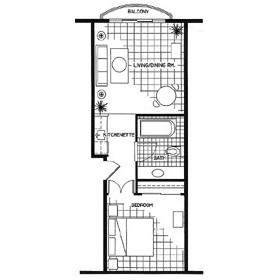 Coconut Malorie Resort — 1BR Floorplan