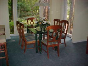 dining room and deck
