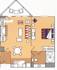 Lake Tahoe Vacation Resort - one-bedroom floor plan