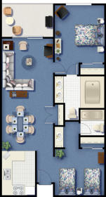 Riviera Beach and Spa Resort I & II - Two Bedroom Floor Plan