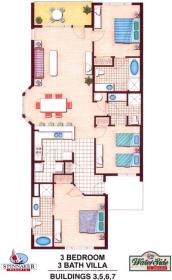 Waterside by Spinnaker - Three Bedroom Floor Plan