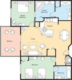 Wyndham Bonnet Creek Resort - Two Bedroom Floor Plan