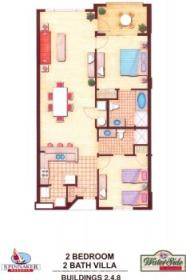 Waterside by Spinnaker - Two Bedroom Floor Plan