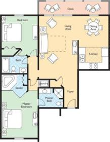 Wyndham Kingsgate - two-bedroom unit floor plan