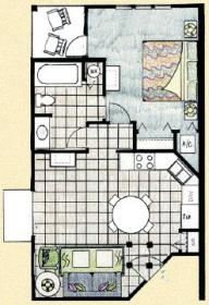 Barefoot'n in the Keys at Old Town - One Bedroom Floor Plan