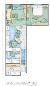 Midtown Village - Euro One Bedroom Floor Plan