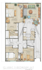 Midtown Village - Classic Three Bedroom Floor Plan