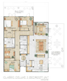 Midtown Village - Classic Deluxe Three Bedroom Floor Plan