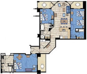 3 Bedroom/3BR Floor Plan; in Compass Tower