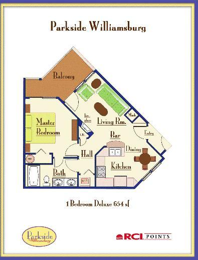Parkside Resort - One-Bedroom Deluxe Floor Plan